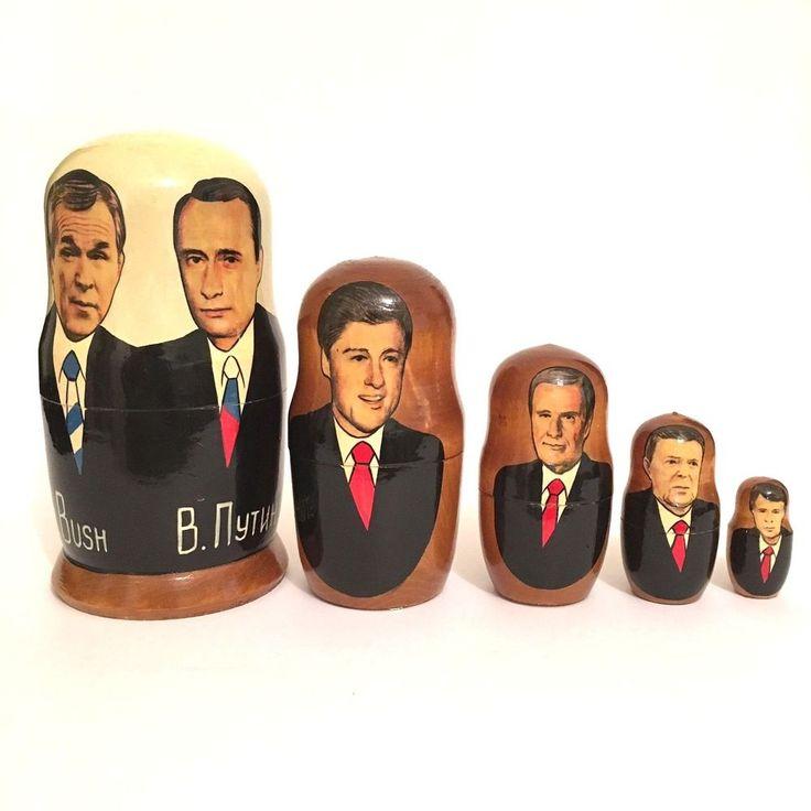 Presidents Bush, Putin, Clinton, Bush Sr, Reagan, Carter Russian Nesting Dolls #Unbranded