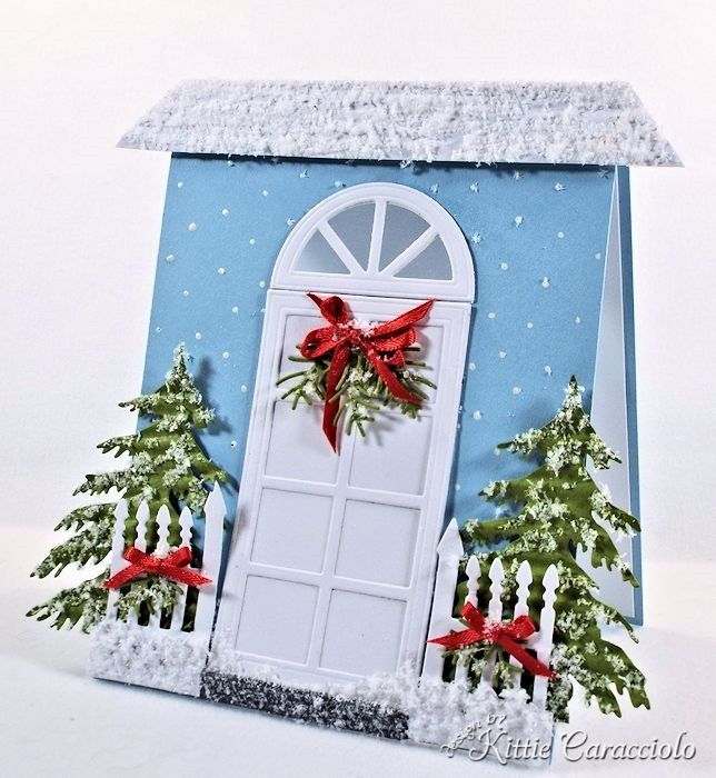 KittieKraft: Christmas Welcome Home...The new Impression Obsession Door/ Window set and Fence Trio are just the perfect size for an A2 card front to create a welcoming front door scene.