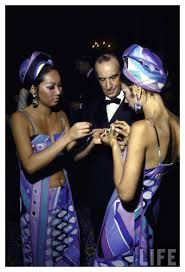 Emilio Pucci (1914-1992) was an Italian fashion designer and government official. He is best known for his tight shantung 'Pucci Pants' and vividly printed silk dresses & blouses. During the height of his fame, his name was synonym with sophistication & high fashion. He continues to be an inspiration for Gianni Versace & Franco Moshino. He was also a member of the Italian parliament (1963-72).