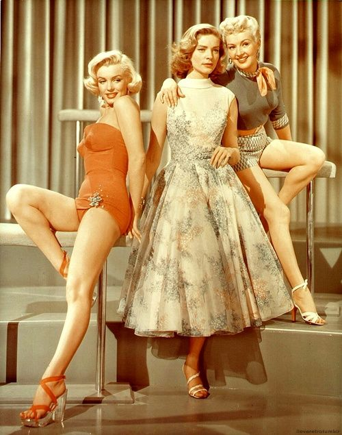 """Marilyn Monroe, Lauren Bacall and Betty Grable in """"How to marry a Millionaire"""" (1953)"""