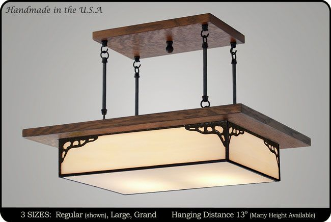 Our Antique Style Mission Chandelier adds elegance and ambiance to any home. Our Antique Style Mission Chandelier is carefully constructed by hand in the original style of the American Arts and Crafts Movement. This hanging light fixture is part of our elegant Mission Lighting collection. The chandelier is also available in a six sided version, on our Craftsman Lighting Fixture page.