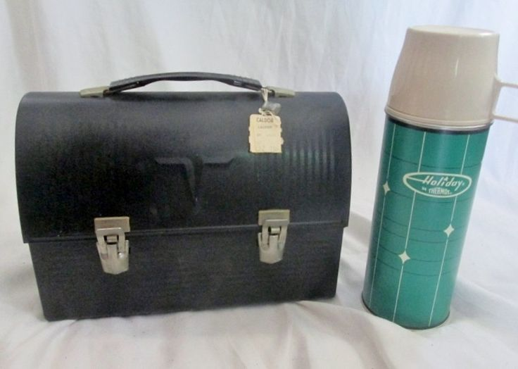 NEW Vintage Stock BLACK THERMOS Metal INDUSTRIAL LUNCHBOX Lunch Box
