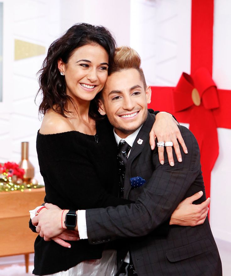 Style Code Live from Party Pics: New York  Entourage star Emmanuelle Chriqui and Frankie Grande hug it out during a taping of the Amazon show.