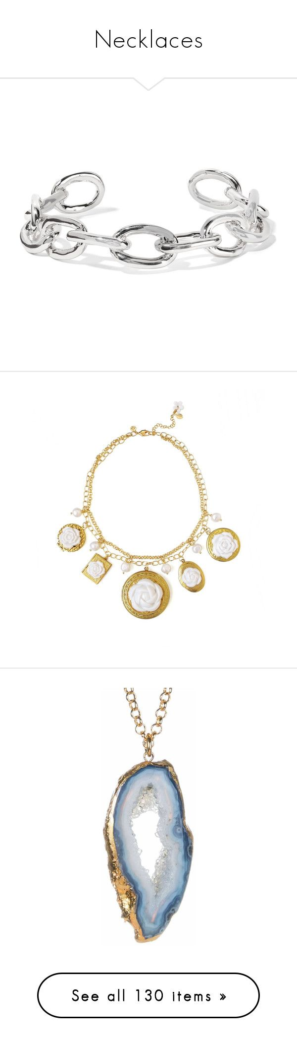 """Necklaces"" by lustydame ❤ liked on Polyvore featuring jewelry, necklaces, silver, silver plated jewelry, choker jewellery, jennifer fisher, chain link choker necklace, silver plating jewelry, yellow statement necklace and long statement necklace"