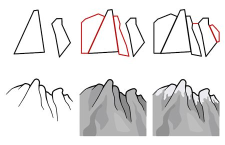 How to draw mountains step 3