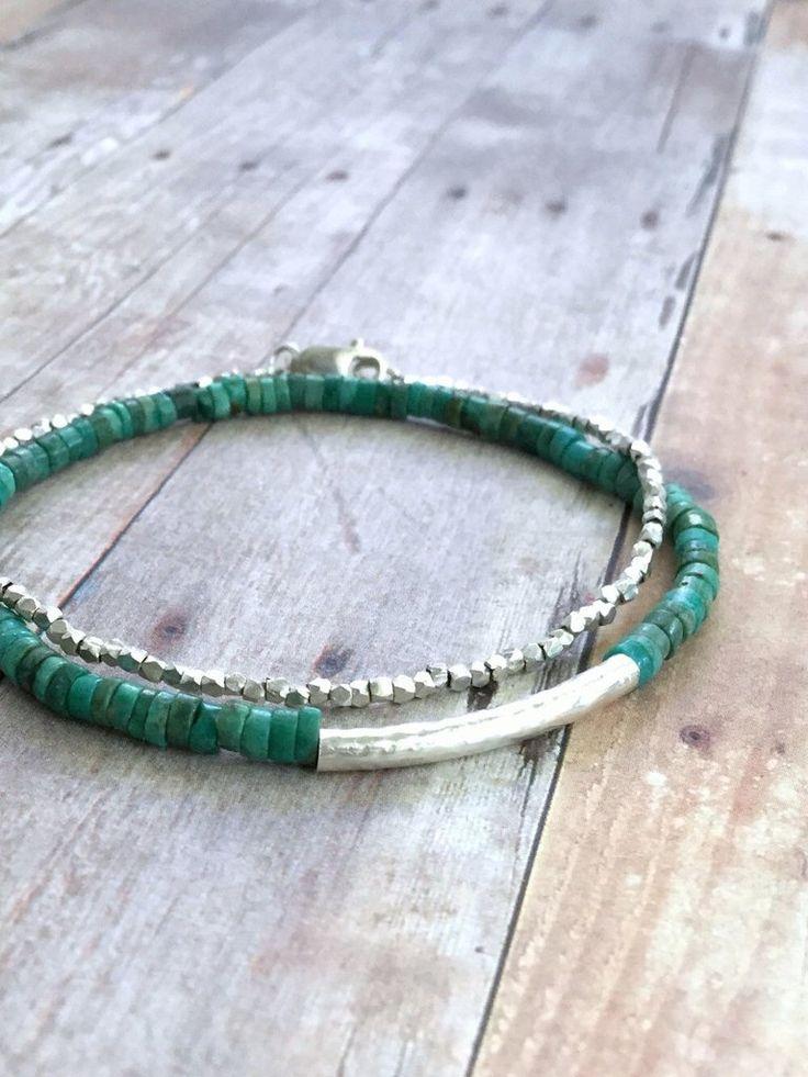 Real Turquoise Bracelet, Blue Green Gemstone Jewelry, Sterling Silver Tube Bead Bracelet