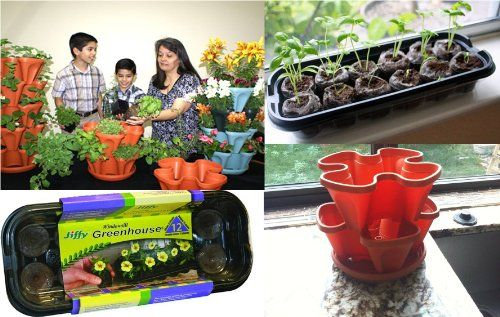 Mr. Stacky Family Gardening Stacking Planter Kit - Jiffy Windowsill Greenhouse Seed Starter - 12 Coco Peat Pellets