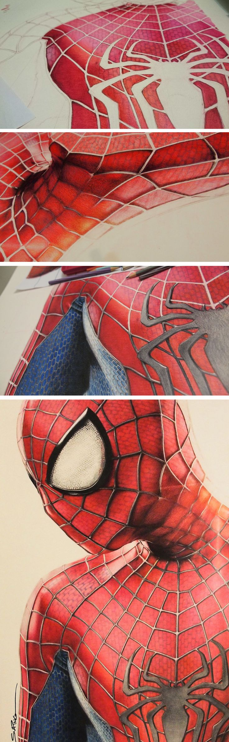 Color art colored pencils - Colored Pencil Spider Man By Su Ping Ong Moviepilot Com