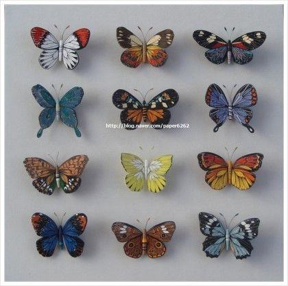 나비 12마리를 만들어 액자로 만들었어요. 제왕나비, 노랑나비, 배추나비, 그리고 나방들.... 다양한 색과 ...