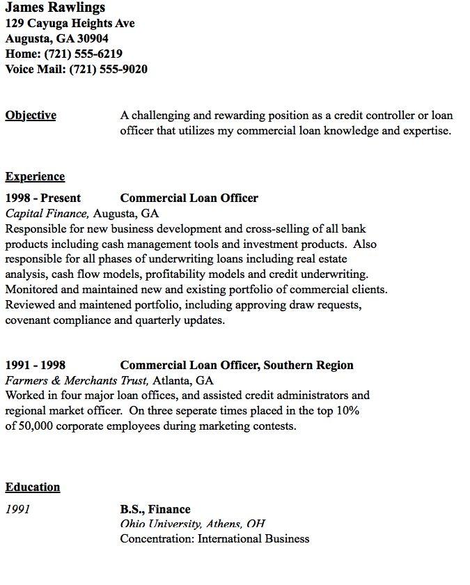 Commercial Loan Officer Resume Sample - http://resumesdesign.com/commercial-loan-officer-resume-sample/