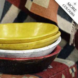 Description: Hand crafted from solid wood, our Chapati bowls are available in a range of great colours and make great decorator pieces for displaying candles, organics or even as a fruitbowl. Please note due to the natural nature of this product, no two are alike and the product images are as a reference only.Material: WoodColours Available: White, Yellow, RedDimensions: 46cm diameter x 10cm deep (approximately)