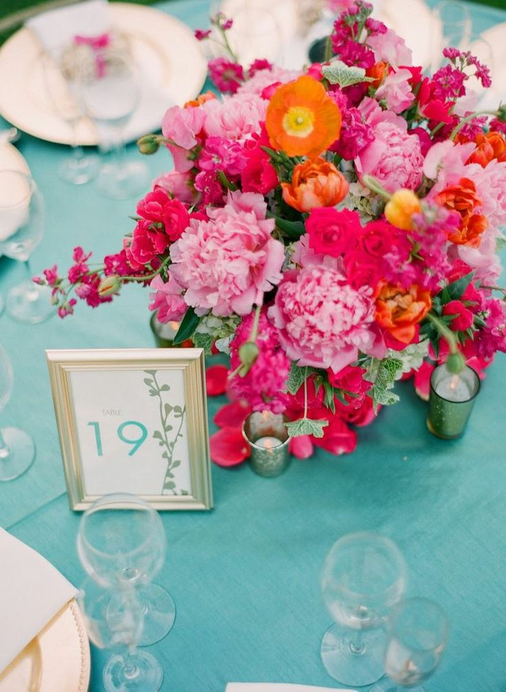turquoise, teal, gold, hot pink, pink wedding, magenta wedding, peony, pink peony, centerpiece, gold frames, table numbers // Events by Satra // em the gem // Floral Design Studio