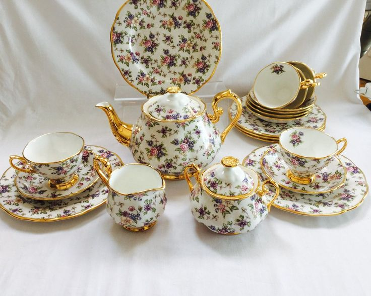 Superb Royal Albert 1940's English Chintz 21 piece tea set in Pottery, Porcelain & Glass, Porcelain/ China, Royal Albert, Tableware | eBay