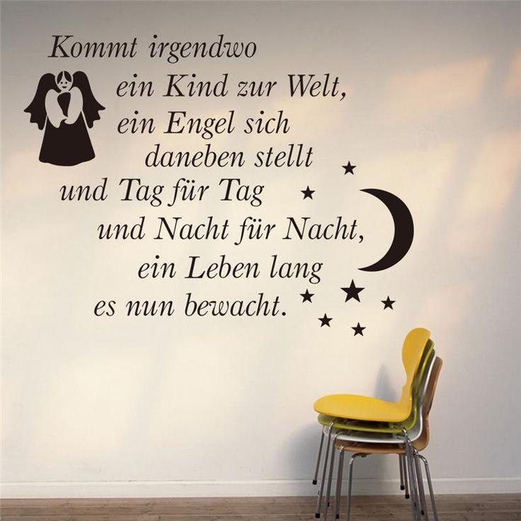 Wandtattoo Aufkleber Kommt irgendwo ein Kind zur Welt div Farben Angel Moon Star wall sticker decals #Affiliate