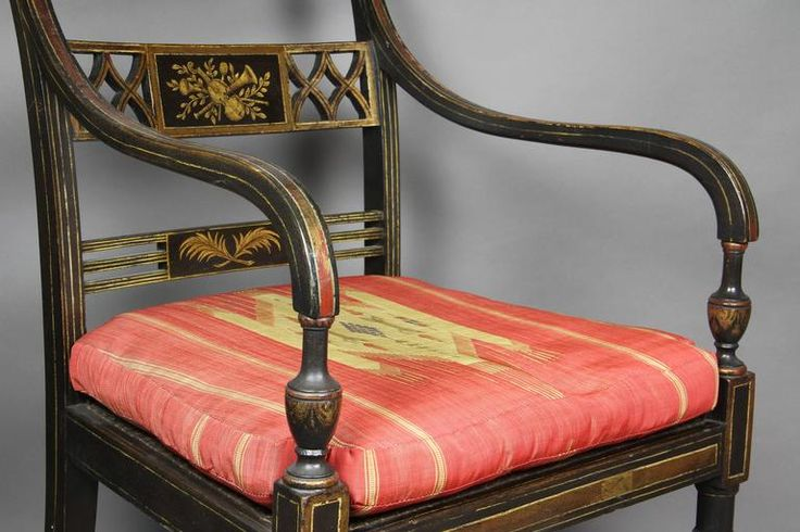 Set of Four Regency Japanned and Parcel-Gilt Armchairs For Sale at 1stdibs