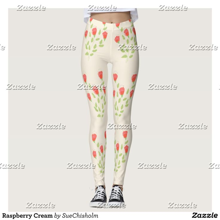 Raspberry Cream Leggings - Printed #Yoga #Leggings & Running Tights Creative Workout and #Gym #Fashion Designs From International Artists - #pilates #exercise #crossfit #workout #tights #running #sports #design #fashiondesign #designer #fashiondesigner #style #pants