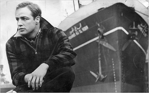 "MARLON BRANDO as a longshoreman of decent instincts, in a scene from ""On the Waterfront."""