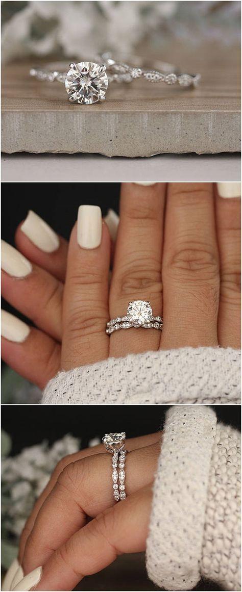 Wedding Ring Set, Moissanite 14k White Gold Engagement Ring, Round 8mm Moissanite Ring, Diamond Milgrain Band, Solitaire Ring, Promise Ring #bridalrings