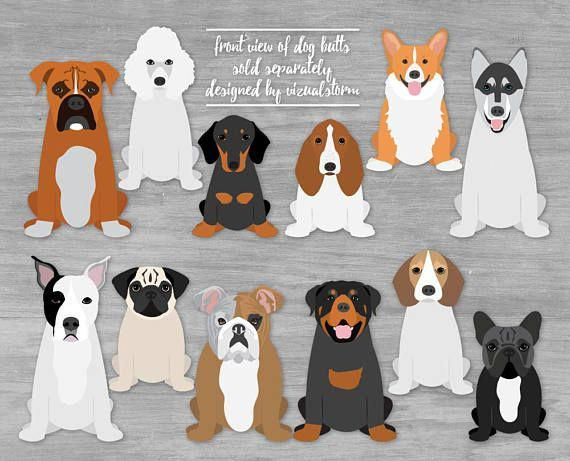 Dog Clipart Bundle Hand Drawn Akc Dog Breeds Small Medium Etsy Dog Clip Art Dog Illustration Dog Clip