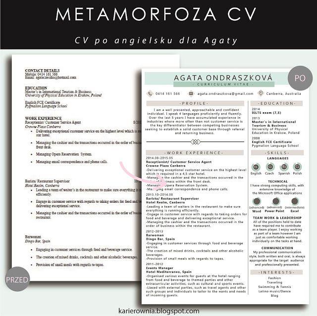 Karierownia - Blog dla przedsiębiorczych kobiet: METAMORFOZA CV: CV po angielsku…