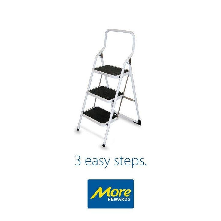 A handy addition to the house, this steel ladder is made with heavy duty steel and is powder coated for rust protection.  Learn more: https://www.morerewards.ca/…/brico-3-step-steel-ladder-white