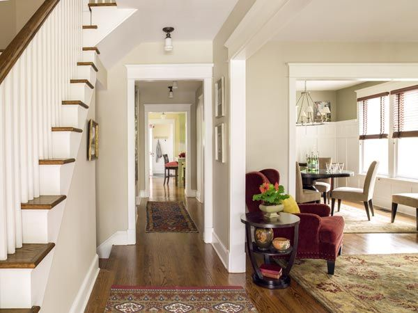 Room At The Top For A Classic American Foursquare Old Home | Center Staircase House Plans | Georgian House | Spiral | Split | Room | Contemporary
