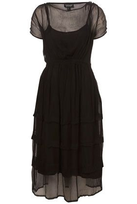 Topshop Black Sheer Tieres Midi Dress from