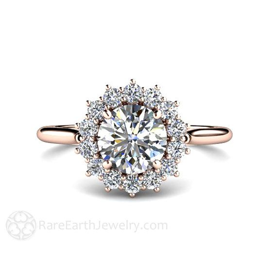 1ct Moissanite Engagement Ring Conflict Free 14K or 18K Rose Gold or Platinum Forever Brilliant