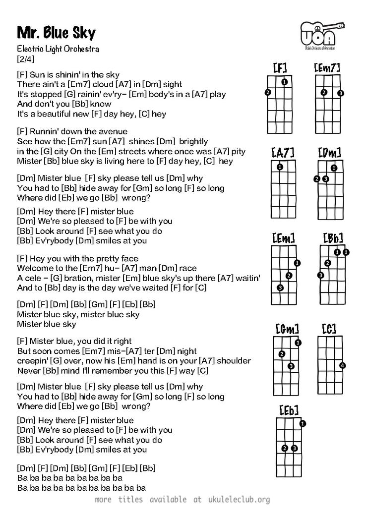 mr blue sky chords pdf