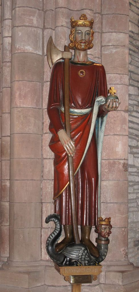 Saint Olaf: Kirkwall Cathedral, Orkney. Attributes: crown, axe, dragon. Feast day 29th July. (King Olaf II Haraldsson of Norway, 995-1030)   http://www.vsnrweb-publications.org.uk/Text%20Series/Historia%26Passio.pdf