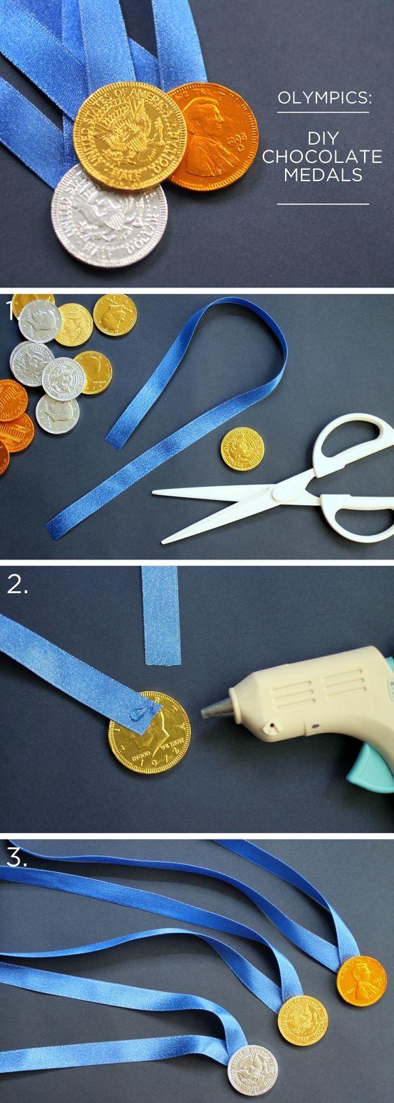 """""""Medallas olímpicas"""" con monedas de chocolate (✿◠‿◠)                                                                                                                                                      Más"""