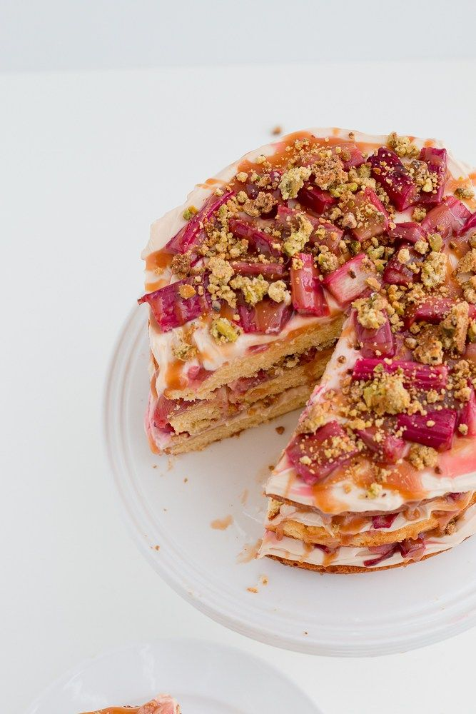 Rhubarb, salted caramel and pistachio cake | The Brick Kitchen-22