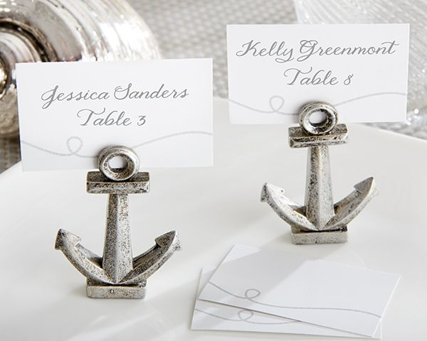 Nautical Themed Wedding Favors | card holders nautical anchor place card photo holder set of 6 nautical ...