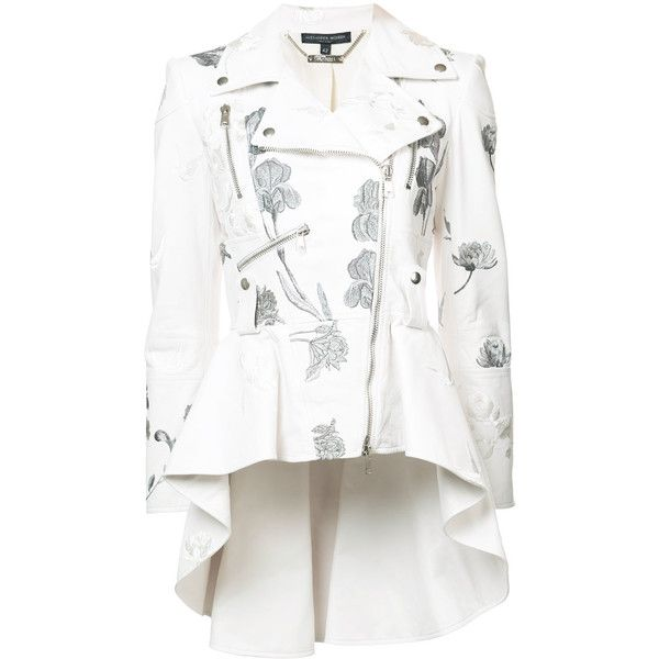 Alexander McQueen peplum biker jacket (33,355 SAR) ❤ liked on Polyvore featuring outerwear, jackets, white, peplum jacket, rider jacket, white moto jacket, biker jackets and floral embroidered jacket