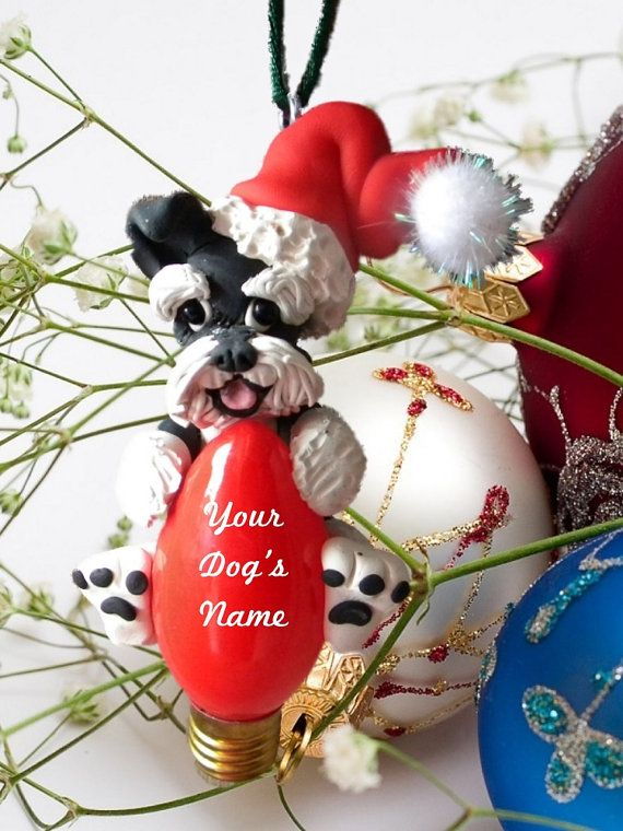 Black and Siver Schnauzer Santa Dog Natural by sallysbitsofclay, $18.99