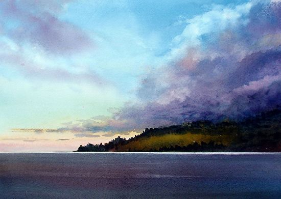 "FIRST LIGHT by Enda Bardell Watercolor ~ 16"" x 20"" framed"