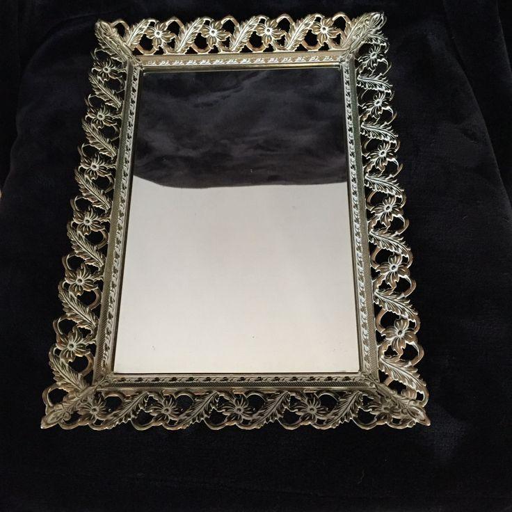 VANITY MIRROR TRAY ornate vintage makeup vanity tray mirror base with metal ornate edging by GlyndasVintageshop on Etsy