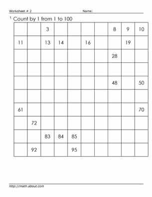 Teach Your Kids to Count to 100 With This Fun Worksheet: Worksheet # 3 Fill in the Blanks on the 100's Chart