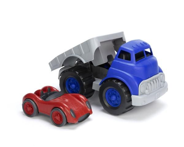 Green Toys Flatbed Truck with Red Racecar-Cars & Trucks - Oxemize.com