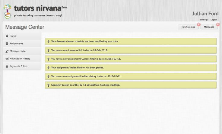 Notifications - Lesson & payment reminders! Tutors Nirvana helps you and your students stay on schedule.  No more no shows or late payments. http://www.tutorsnirvana.com/features