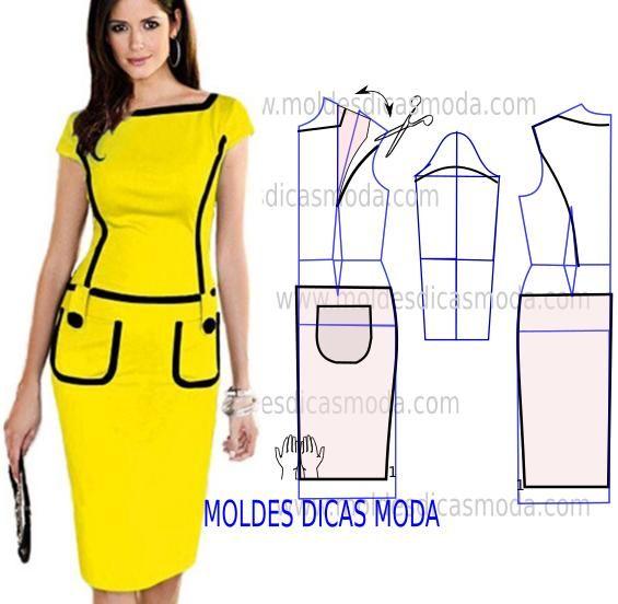 Analise de forma detalhada o desenho do molde vestido lápis. Modelo simples e sofisticado que veste de forma muito chique. As cores são sempre muito import