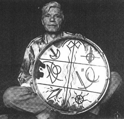 Eurasian Shamanism, Jóska Soós, Hungarian táltos (=shaman) and painter...On his drum the world tree and the three worlds