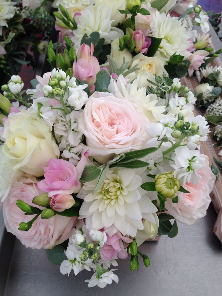 Bouquet from a wedding in Cambridge featuring Pink O'Hara roses