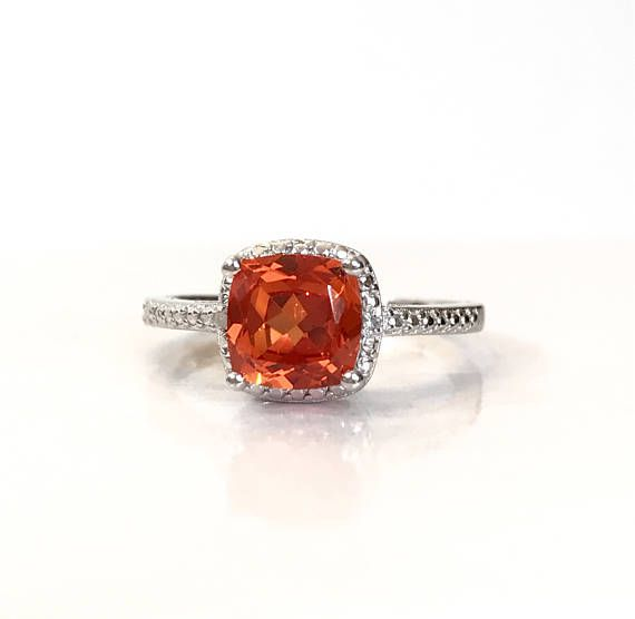 Padparadscha Orange saphir diamant bague en argent Sterling