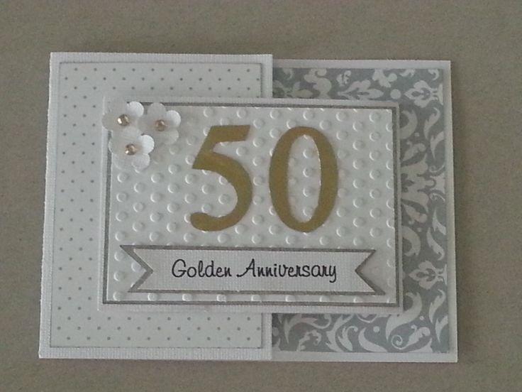 50th Wedding Anniversary Card - Joy Fold card.  Used small BasicGrey magnet for closure.