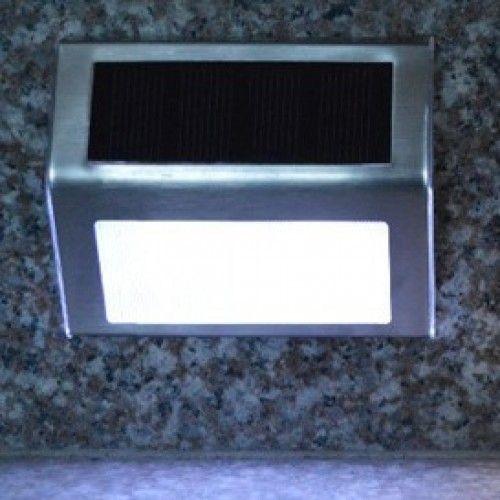 Kerti ledes szolár, napelemes lámpa rozsdamentes acél, falra szerelhető