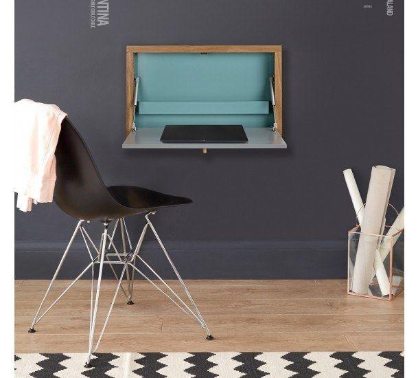 Woodman - Brenta Juniorskrivebord - Turkis - Opklappeligt vægskrivebord