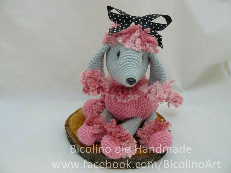 Hot pink French poodle amigurumi
