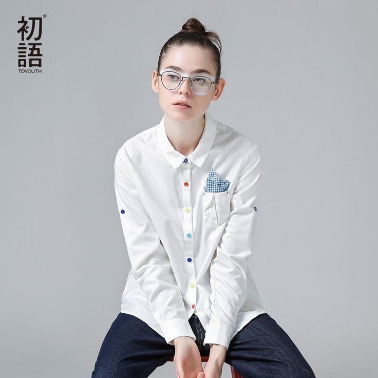 Toyouth 2017 herbst shirts frauen weiß drehen-unten langarm bunte einreiher blusen dame mode lose tops