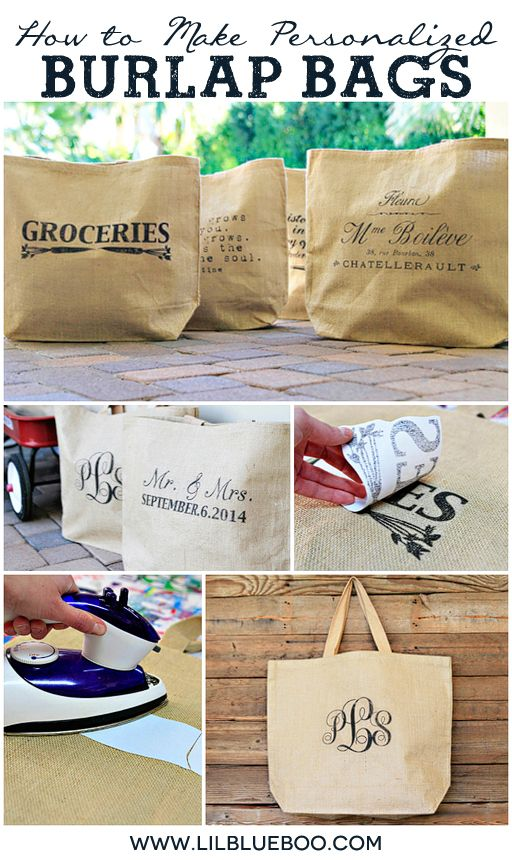 Gift Idea for Bridesmaids, Wedding Party, Graduation Etc: How to Make Personalized Burlap Bags via Ashley Hackshaw / lilblueboo.com #burlap ...